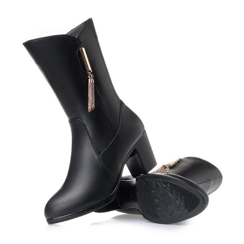 Chaud Métal Neige En Cuir Talon Chaussures Hiver Noir Nouveau Véritable Confortable Chaude 2018 Bottes Épais De marron Mode Femmes 0RFngg