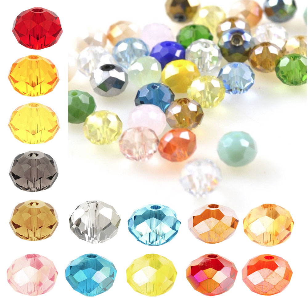 145pcs 4mm Crystal Rondelle Glass Beads Diy Jewellery Making For Bracelet Necklace Center Drilled 18 Color Jewelry & Accessories Beads & Jewelry Making