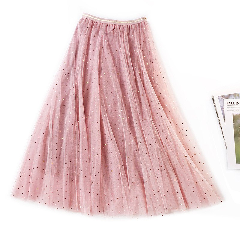 2019 nova primavera tule saias das mulheres moda brilhante estrela malha tutu saia plissado saias longas midi saia saias faldas jupe femme