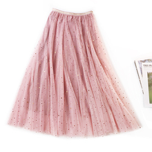 2020 뉴 여름 Tulle Skirts Womens Fashion Shining 스타 메쉬 투투 스커트 Pleated Long Skirts 미디 스커트 Saias Faldas Jupe Femme