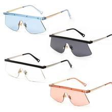 65f2eebdcd Nueva moda gafas de sol una pieza plana personalidad creativa UV400 Unisex  ojo protección de marca de diseñador de conducción re.