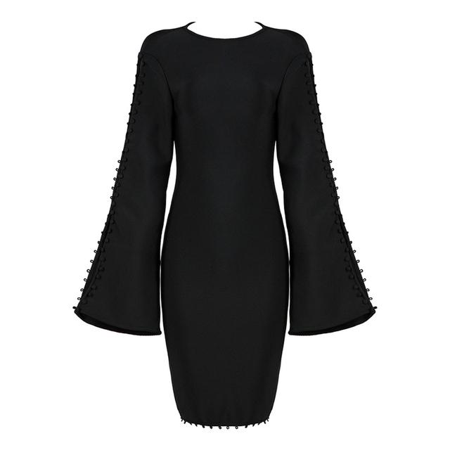 New Fashion Bandage Dress Flare Sleeve Runway Dress Women White Red Black Bodycon Vestidos Celebrity Party Dresses