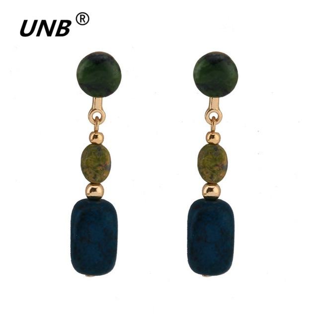 Natural Stone Drop Earrings Boho Blue Green Dance For Women Model Jewelry New Vintage