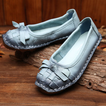 2017 Autumn New Handmade Women Leather Shoes Bow National Style Retro Comfort Soft Cowhide Flat Shoes