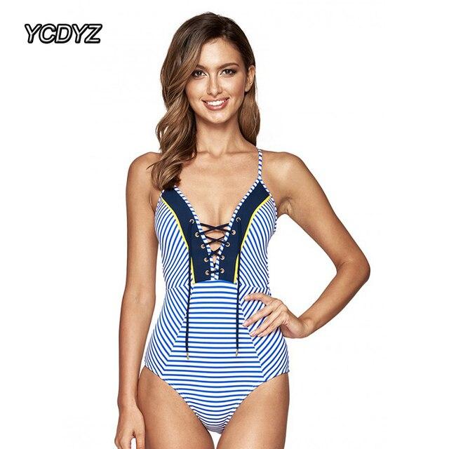c071ac7a066 US $10.32 31% OFF YCDYZ Women Sexy One Piece Swimsuit Vintage Swimwear  Female Stripe Lace Up Front Beach Bathing Suit High Cut Monokini  Beachwear-in ...