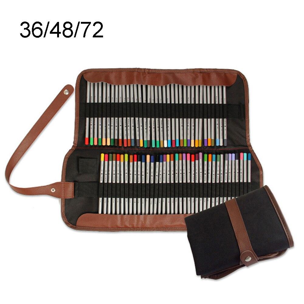 36/48/72 Holes Pencil Case School Canvas Roll Pouch Makeup Comestic Brush Pen Storage Pecncil Box