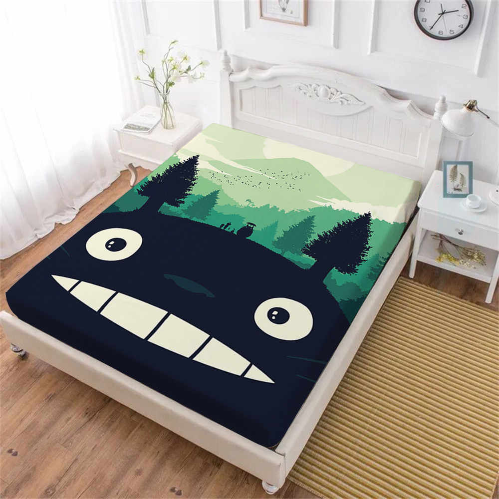 Black Cartoon Totoro Bed Sheet Green Trees Forest Print Fitted Sheet Kids Bedding King Queen Sheets Festival Gift Home Decor D25