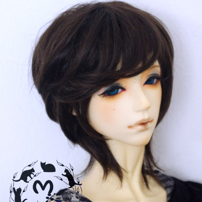 1PCS 1/3 1/4 BJD Doll Wig Short Dark Brown Wigs For BJD Dolls jetley 1 a0335
