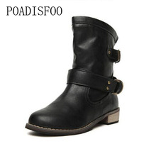 POADISFOO 2017 hiver femmes Moto bottes Bout Rond talon Carré Bottes Casual chaussures Chaussures Western Martin bottes. CBSL-8809