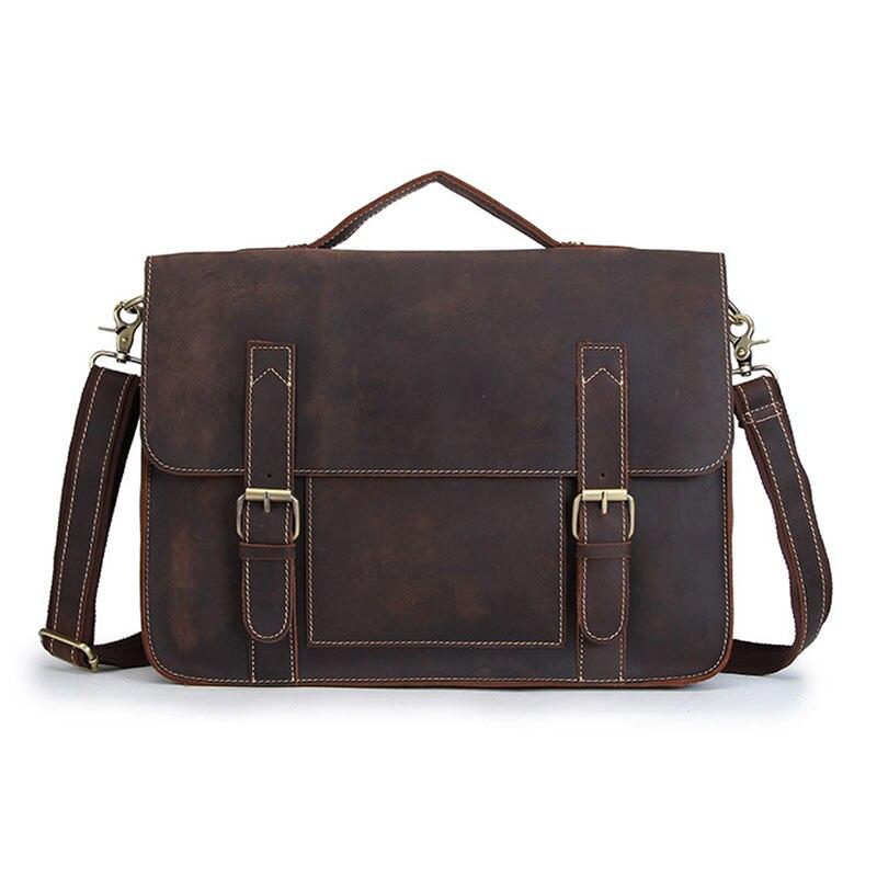 BOLEKE Nesitu High Quality Vintage Genuine Leather Men Crazy Horse Leather Briefcase Messenger Bags 14 Laptop