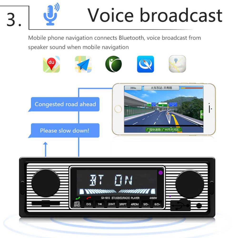 Adeeing Auto Car Radio Bluetooth Vintage Wireless MP3 Multimedia Player AUX USB FM 12V Classic Stereo Audio Player Car Electric 4