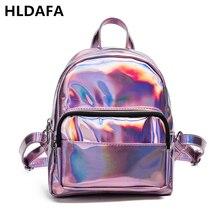 824a12a328903 HLDAFA 2019 Kadın Küçük Hologram Sırt Çantası Lazer Holografik Çanta  Feminino Gümüş Mini okul çantası Kız