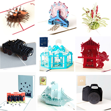 1pcs/lot Camera 3D stereo couple Valentines Day gift birthday party card Childrens greeting carousel wine invitation