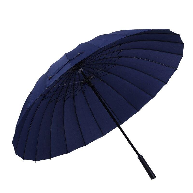 Image 4 - 24K Large Women umbrella Rain Women Windproof male Walking Stick Umbrellas Men Leather Golf Sun Paraguas Colorful Parasol Cane-in Umbrellas from Home & Garden
