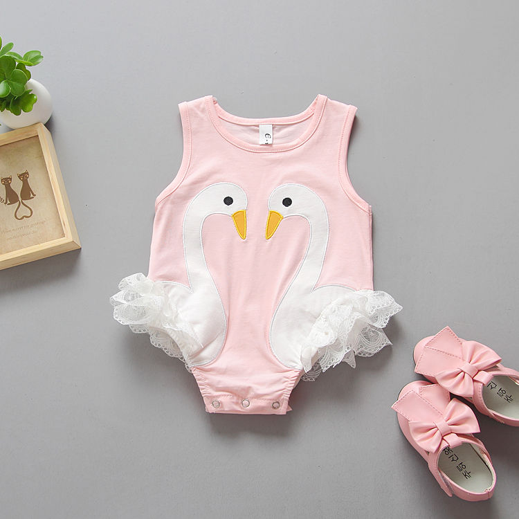 42a16ae78 Toddler Baby Kids Girls Flamingo Feathers Swan Romper Jumpsuit ...