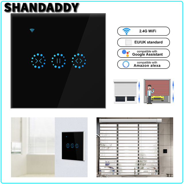 Interruptor de pared de cortina WiFi Control remoto a través de la aplicación o Control de voz de Alexa Google Home Smart Home para Motor de garaje enrollable