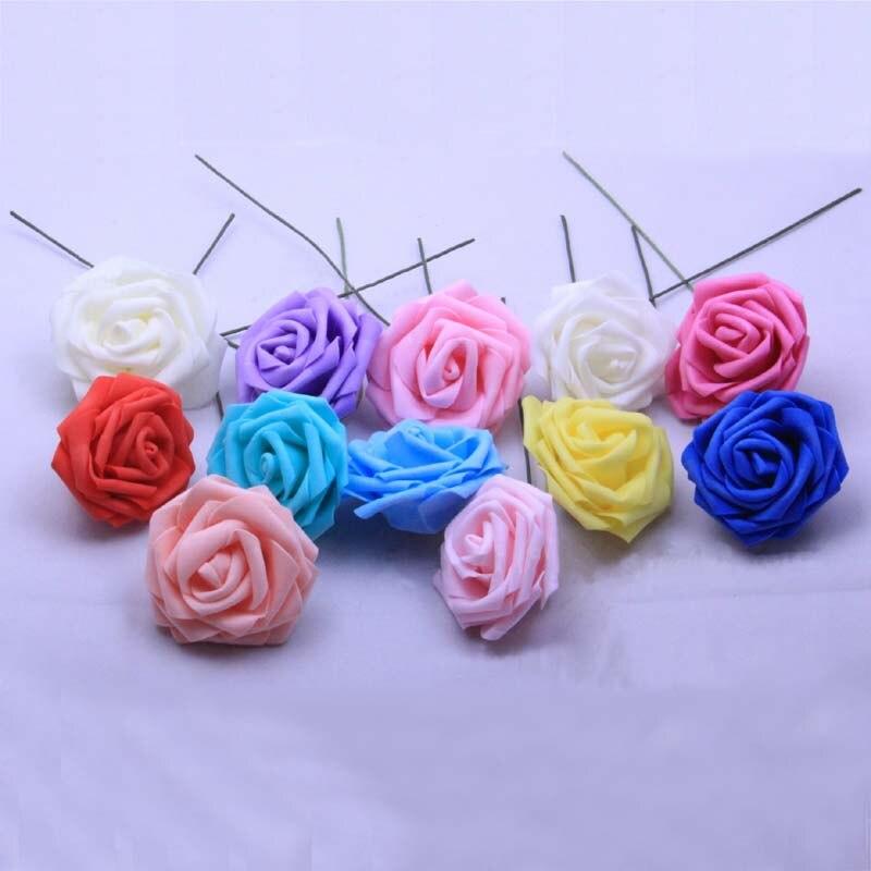 6 см головы 50 шт. искусственный Pe цветочный пены розы, Провода вынос руля поддельные цветы букет для Свадебные украшения, корсажи и бутоньерки