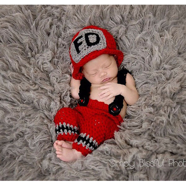 New Character Unisex 2 colors Cotton Newborn Photography Props Costume Hand  Crochet Knit Infant Fireman Baby 8eb15a2c38dd