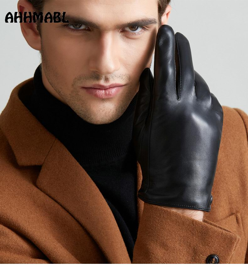 2018 Men Winter Gloves Genuine Sheep Leather Gloves Short Design Touch Screen Real Leather Gloves Mesh Driving Gloves G553