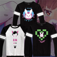 The Game OW Dva Cosplay Crewneck Hoodie Reflect Light Long Sleeve Autumn Boys Clothes High Quality