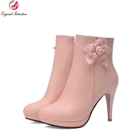 2015 New Women Ankle Boots Autumn Winter Boots Pink White Beige Blue Sexy Platform Stiletto Heel