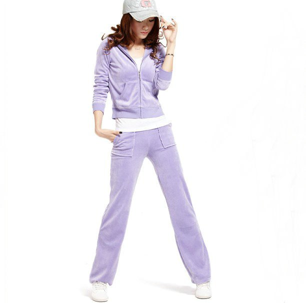 Free shipping women s light purple velvet track suit high-quality Yoga suit  with pocket 31fa62d78