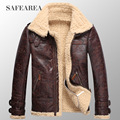 Мужская кожаная куртка мужчины утолщение плюс бархат одна часть кожаное пальто мужской зимний верхней одежды теплой зимней моды куртки