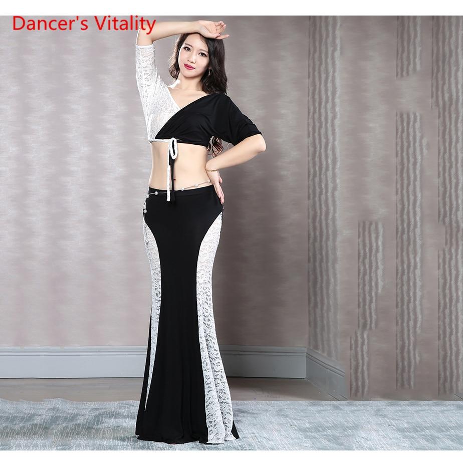 New Arrival Black vs White Mermaid Skirt Belly Dance Long Skirt 2 Piece Lace modal Dress