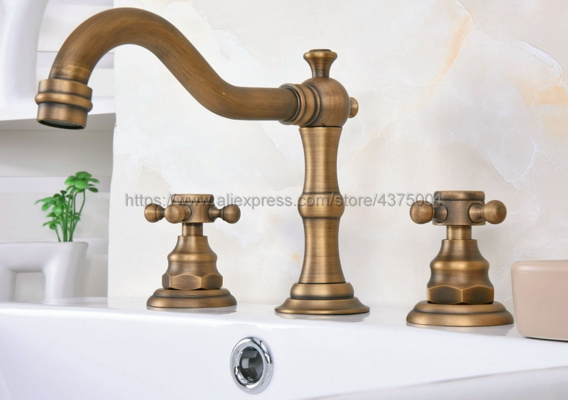 Bathroom Antique Brass Mixer Faucet Two Handles 3 Hole Basin Sink Hot Cold Water Taps Nan074Bathroom Antique Brass Mixer Faucet Two Handles 3 Hole Basin Sink Hot Cold Water Taps Nan074