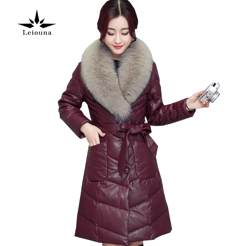 Leiouna Winter PU Faux Leather Coat Fur Collar Down Cotton Fashion Warm Long Women Large Size 3xl Wadded Quilted Puffer Jacket winter jacket female parkas hooded fur collar long down cotton jacket thicken warm cotton padded women coat plus size 3xl k450