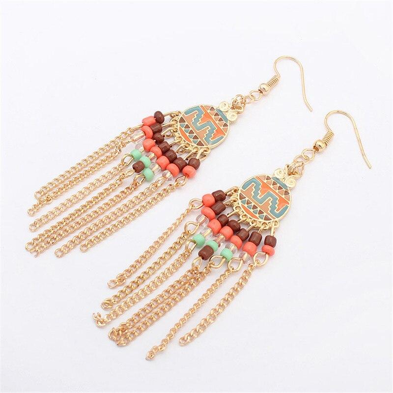 LPHZQH Women fashion jewelery Vintage ethnic earrings Round disc Roman earrings Long tassel drop earrings Christmas gift