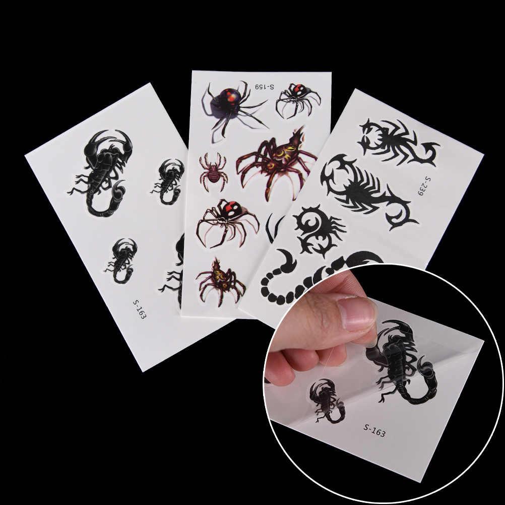 1 גיליון עמיד למים זמני קעקוע מדבקות פלאש מזויף גוף אמנות צוואר קעקוע 3d שחור עכביש עיצובים