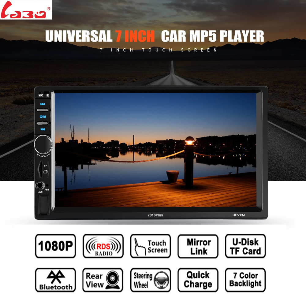 7018Puls Bluetooth HD 7 Touch Screen 12V 2 Din FM Car Radio ISO power Aux Input Receiver SD USB MP5 MMC WMA Autoradio Player 7 hd bluetooth touch screen car gps stereo radio 2 din fm mp5 mp3 usb aux z825