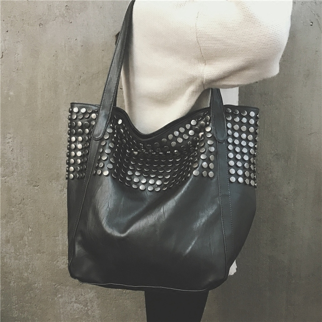 30404bb1d0ea Big Bag Women 2018 Summer Female Shopper Bag Top Handle Tote Studded Large  Capacity Soft Leather