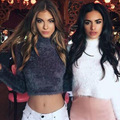Short Paragraph Navel Sweater Fashion Sexy High Collar Knitted Pullovers for Women