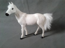 simulation white horse model large 27x25cm,polyethylene & furs horse toy model decoration gift t456