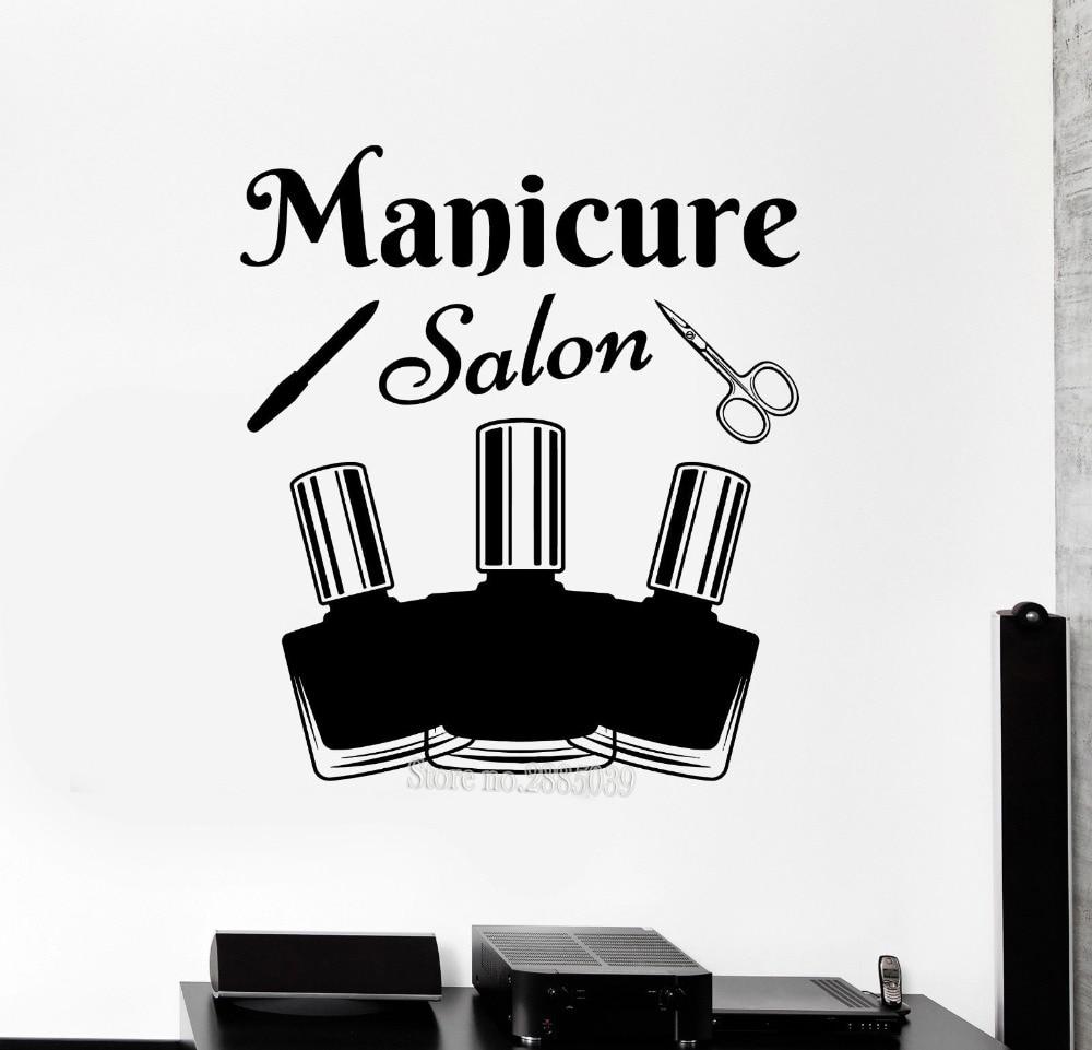 Vinyl Wall Decal Fashion Girl's Room Decor Manicure Tools Salon Nail Polish Beauty Stickers Art Wall Sticker Modern Poster LA431