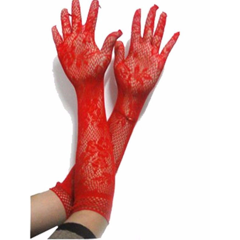 Fashion Formal Long Women Gloves Female Fishnet Floral Fancy Lace Sheer Elbow Elegant Adult Glove Mittens