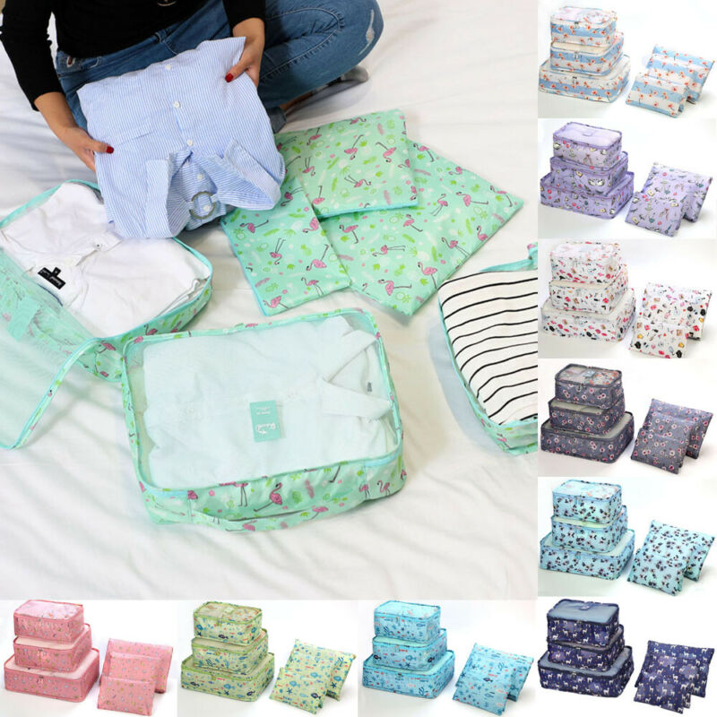 New Style 6Pcs Functional Clothes Underwear Socks Packing Printed Holiday Travel Luggage Organizer Bag Cube Storage Bags