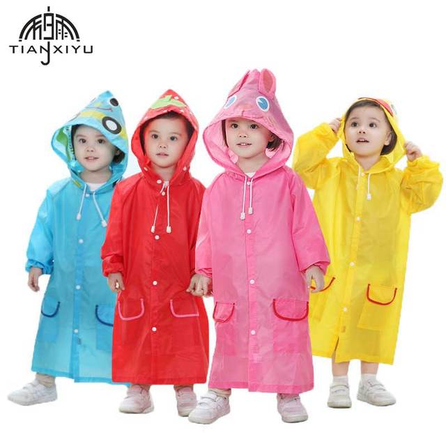 592db569 2pcs Cartoon Animal Polyester Waterproof Kids Raincoat Cute Impermeable  Raincoat For Children Rain Cover Boys Girls Ponchos Cape