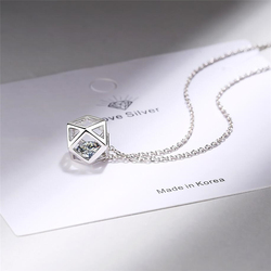 Sole Memory Sweet Geometry Zircon Cubes Pendant 925 Sterling Silver Clavicle Chain Female Necklace SNE413