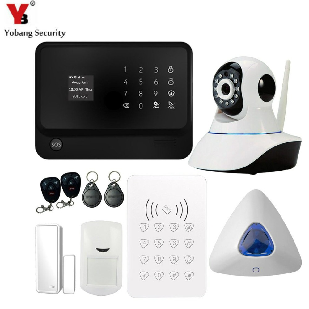 YobangSecurity G90B Security Wireless GSM WIFI Alarm System with WIFI IP Camera PIR Detector RFID Keypad Alarm Door Alarm Sensor yobangsecurity wifi gprs gsm home security alarm system door sensor pet pir motion detector ip camera wireless siren android ios