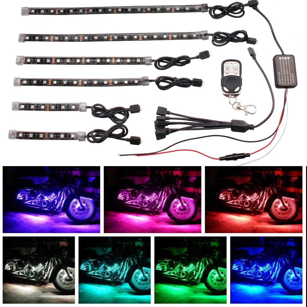 6X LED Strips Motorcycle Car Styling Air Atmosphere Interior Light RGB 16 Color Ambient Infrared Remote Wireless Music Control