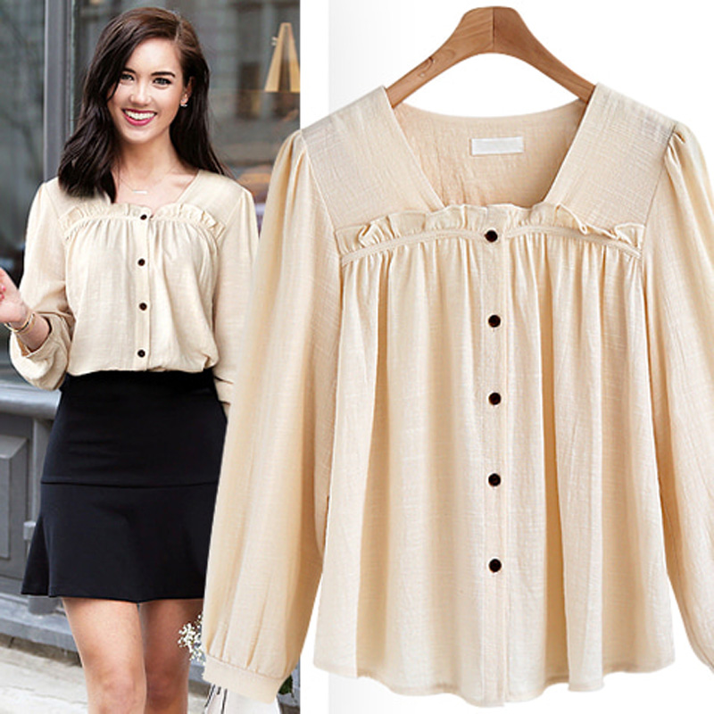 0b0aacc5556970 2018 spring and autumn v neck long sleeve casual cotton shirt blouse women tops  solid brown apricot office shirt plus size 4