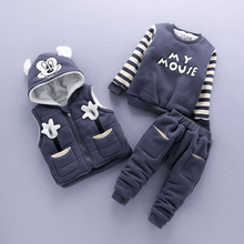 Baby Boy Clothes Cartoon Micky Warm Suit for Together Boy Child 1-3 Years Old Infant Winter Velvet Thicken Clothing Set 3 Pieces baby girl clothes child girl winter clothes suit 0 1 2 3 year old plus velvet thickening warm three pieces costume for boys