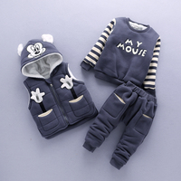 Baby Boy Clothes Cartoon Micky Warm Suit for Together Boy Child 1 3 Years Old Infant Winter Velvet Thicken Clothing Set 3 Pieces
