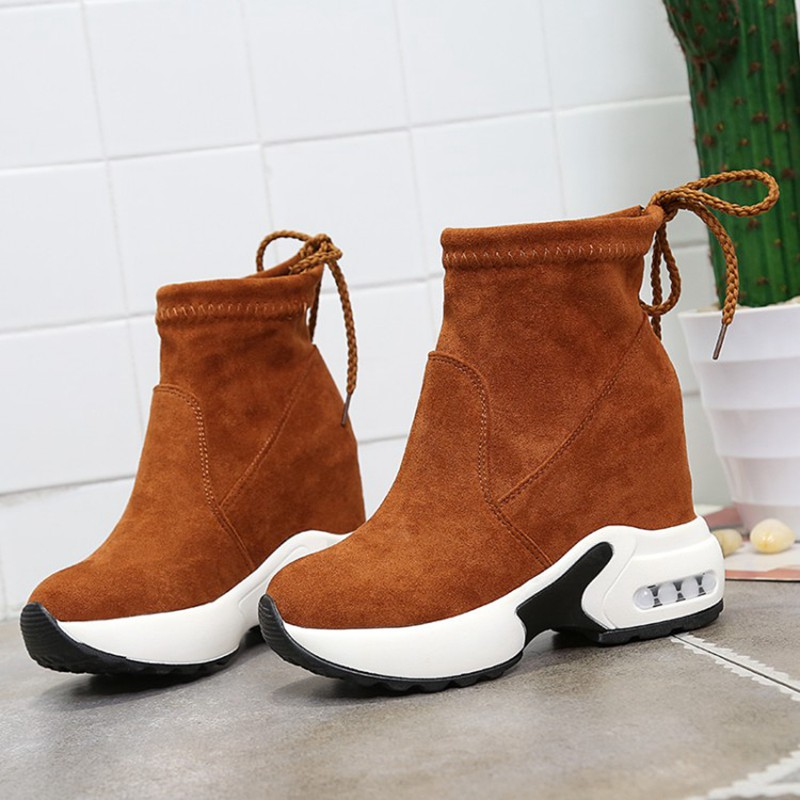 COOTELILI Fashion Increasing Shoes Women High Heels Ankle Boots For Women Autumn Winter Rubber Boots Women Pumps Ladies 35-39 (5)