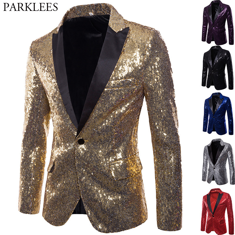 Shiny Gold Sequin Glitter Embellished Blazer Jacket Men Nightclub Prom Suit Blazer Men Costume Homme Stage Clothes For singers floral chiffon dress long sleeve