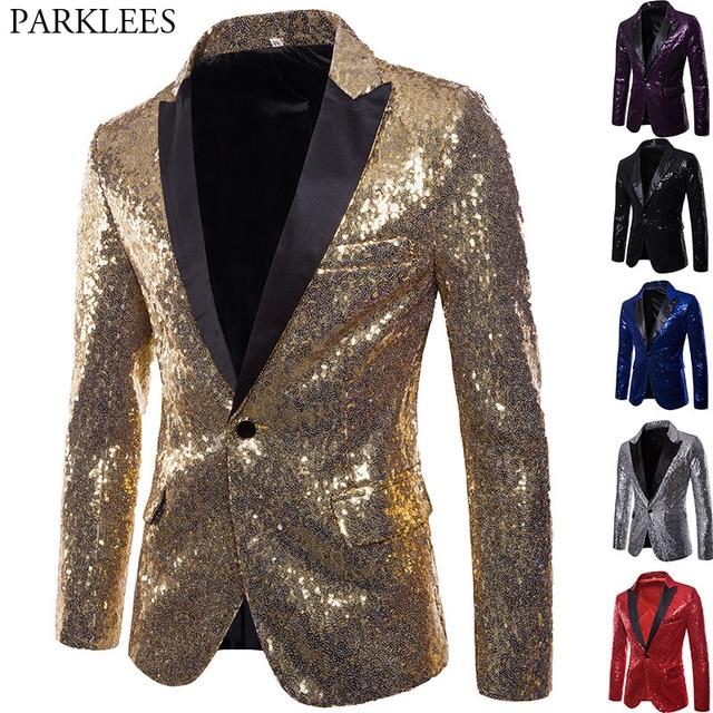 Brillante oro lentejuelas adornado chaqueta Blazer hombres club de baile  traje chaqueta de los hombres traje 8243598b5ab