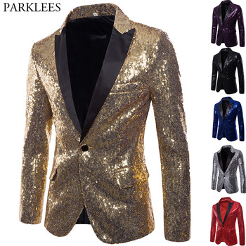 Shiny Gold Sequin Glitter Embellished Blazer Jacket Men Nightclub Prom Suit Blazer Men Costume Homme Stage Clothes For singers Косуха